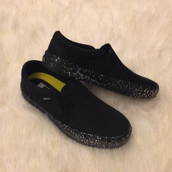 Vans Slip Ons With Silver Glitter Soles
